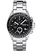 Fossil Decker CH2600 Black Round Dial Stainless Steel Strap Analogue Watch - For Men