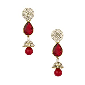 Voylla Gold Plated Jhumki Drop Earrings Studded With Cz Stones