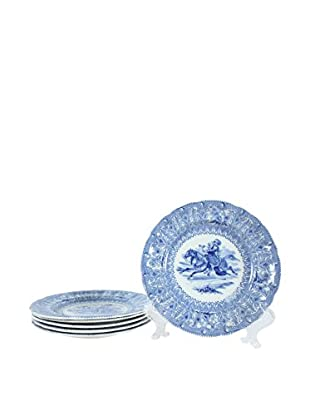 Set of 6 Rorstrand Dessert Plates, Blue/Cream