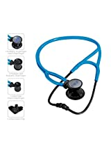 MDF Instruments Pro Cardial ERA Cardiology Lightweight Dual Head Stethoscope with Adult, Pediatric and Infant-Neonatal Convertible Chestpiece (Black/Bright Blue)