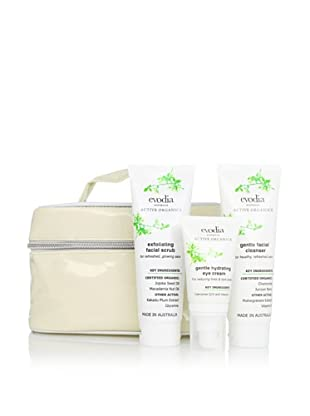 evodia Active Organics Skincare 3-Piece Beauty Set with Tote