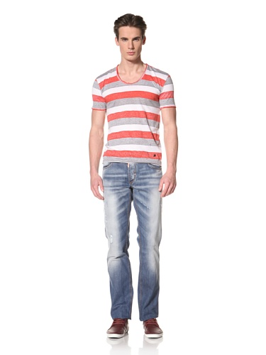 Antony Morato Men's Reverse Stripe Tee (Red)
