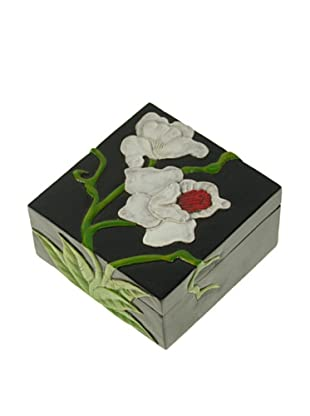The Niger Bend Small Square Soapstone Box with Orchid Design
