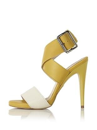 C'N'C CoSTUME NATIONAL Women's Two-Tone Stiletto Sandal (Mustard/White)
