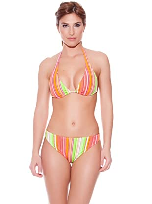 Teleno Bikini Cortina Salir.Q-103 (Verde / Naranja / Rosa)