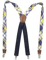Dockers Men's Docker's 1 Inch Plaid Suspenders, Navy/Yellow, One Size
