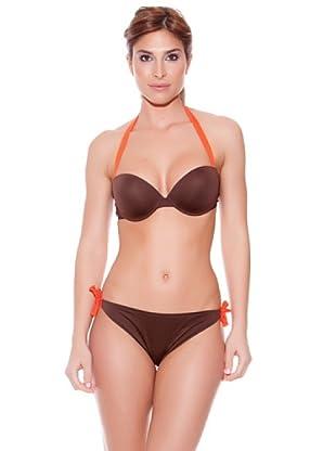 Teleno Bikini Sin Tirantes Con Aros Y Foam (Marrón)