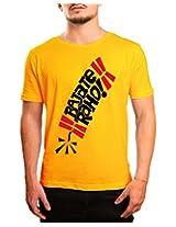 Bushirt Men's Round Neck Cotton T-Shirt (DN00138 - Bajate Raho_Yellow_XX-Large)