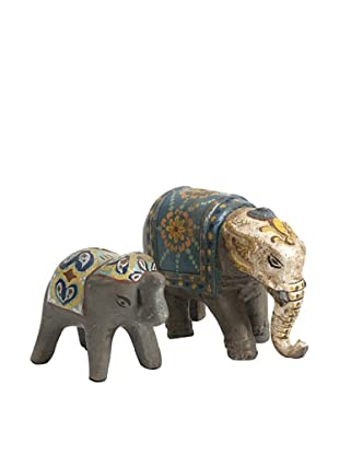 Set of 2 Haani Hand Painted Elephant Figurines