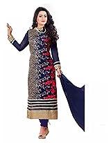 Silkone Women's Georgette Semi Stitched Salwar Suit (Silk01178_Blue_X-Large)