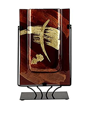 Jasmine Art Glass Rectangular Vase with Metal Stand, Brown/Gold Streak