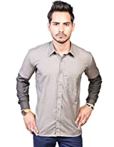 Trendster Grey Half & Dark Full Sleeve Casual Shirt