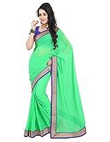 Viva N Diva Liril Green Color Pure Georgette Saree.