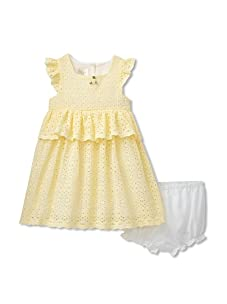 Laura Ashley Girl's Allover Eyelet Lace Dress (Yellow)