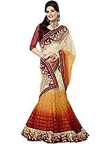 Off White Orange Resham Embroidery Work Indian Net Lehenga Saree Sari