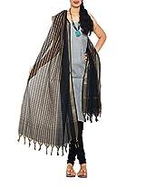 Unnati Silks Women Unstitched white-black handloom Rajasthani cotton salwar Kameez