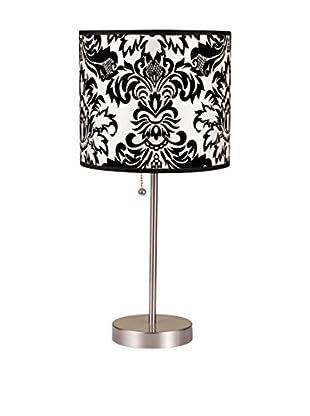 ORE International Damask Print Steel Table Lamp, Black/White