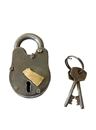 Locks of Love Vintage Inspired Steel Padlock with Brass Accent, c1950s