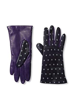 Portolano Women's Dot Print Leather Gloves (Iris/Zinco)