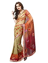 Net Embroidered Brown Heavy Embroidered Saree - TSMH2327