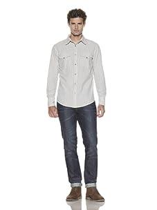 Just A Cheap Shirt Men's Plaid Long Sleeve Shirt (Navy/Cream)