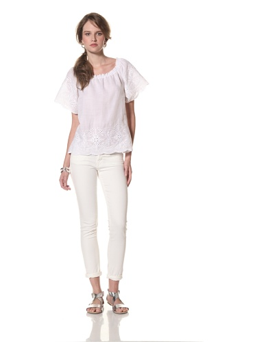 COLLETTE BY COLLETTE DINNIGAN Women's Embroidered Ruffle Sleeve Top (White)