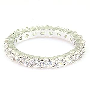 SUPERSHINE WHITE GOLD PLATED RING FASHION JEWELRY EMBEDDED WITH AMERICAN DIAMONDS 10711S