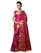 Meghdoot Artificial Silk Saree (VIVAAH_MT1284_RANI Woven Pink Colour Sari)