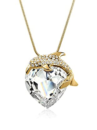 Philippa Collar Big Dolphin Heart metal bañado en oro 24 ct
