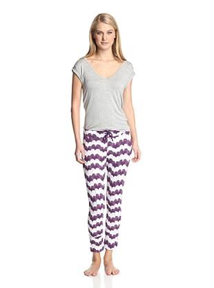 40 Winks Women's 2-Piece Pajama Set (Gatsby Hearts Wine)