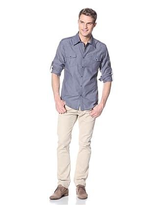 Dorsia Men's Logan Long Sleeve Button-Up Shirt (Navy)