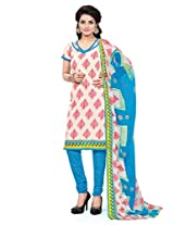 BanoRani Womens Cream Color Casual & Printed PolyCotton Ladies Unstitched Salwar Suit Dress Material with Printed Dupatta