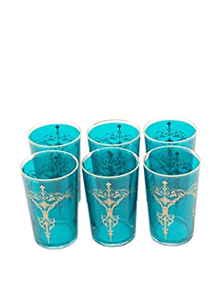 Set of 3 Kandil Tea Glasses, Aqua