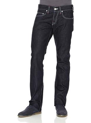 True Religion Pantalón Costuras Blancas Talle Bajo (Azul Oscuro)