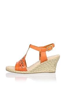 Rockport Women's Emily Laser Cut T-Strap Sandal (Dark Orange)