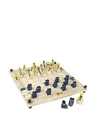 Ski Bum Checker Set, White, Blue, Yellow