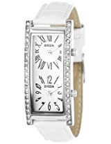 Breda Women's 2185_wht White Nicola Dual Time Zone Classic Leather Watch