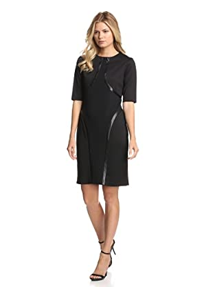 Julia Jordan Women's Ponte Dress with Faux Leather Trim (Black)