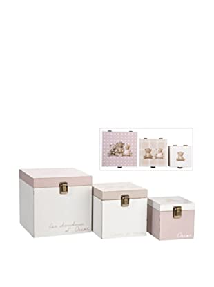 Jolipa Conjunto de 3 cajas en metal Oscar gris/marrón/blanco