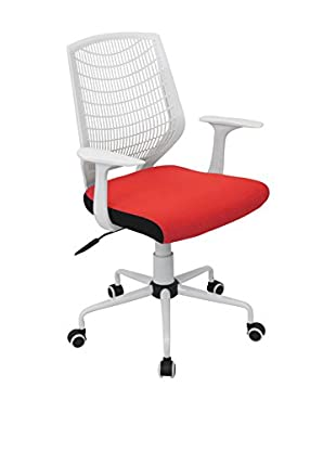 LumiSource Network Office Chair, White/Red