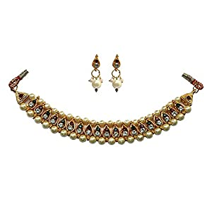 Unicorn's Traditional Wear Necklace Set In Pearls and Multicolored Stones With A Matching Pair of Earring for Girls (UEMNRGW03302P)