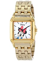 Disney Women's W000859 Square Steel Minnie Mouse Gold Tone Bracelet Strap Watch