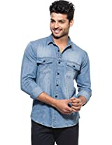 Zovi Slim Fit Casual Blue Denim Shirt With Pockets And Panel Detailing