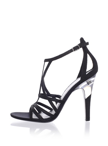 Sigerson Morrison Women's Picasso Sandal (Black Embossed/Black Suede)