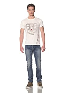 Tee Library Men's Lonely Pierrot Crew Neck T-Shirt (White)