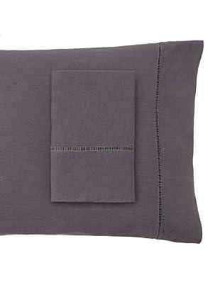 Melange Home Linen Hemstitch Pillowcase Set (Charcoal)