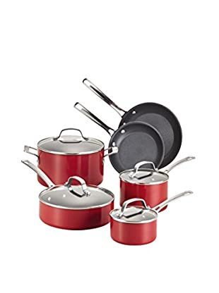 Circulon Genesis Aluminum Nonstick 10-Piece Cookware Set, Red