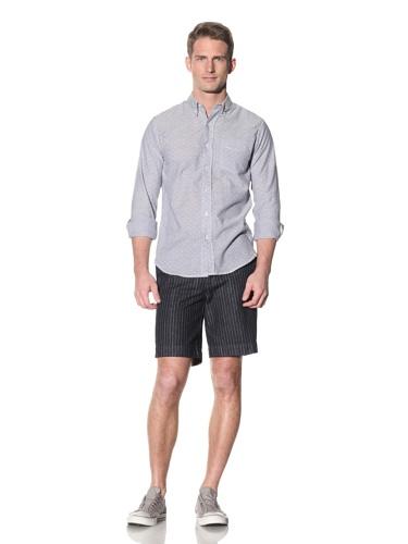 Barque Men's Printed Button-Up Shirt (Blue)