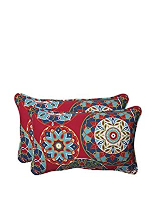 Pillow Perfect Set of 2 Indoor/Outdoor Cera Garden Lumbar Pillows, Red