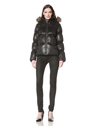 Sam Edelman Women's High Density Down Jacket with Faux Fur Trim (Black)